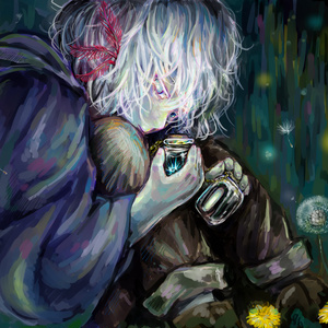 ポストカード2 『星の欠片を入れた瓶と闇を閉じ込めた瓶を持ち歩く少年』