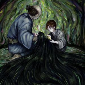 ポストカード6 『百年髪が伸び続けている赤子と、それを代々世話している親子』