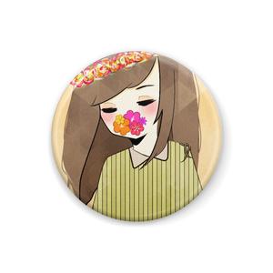 花と少女 32mm缶バッチ