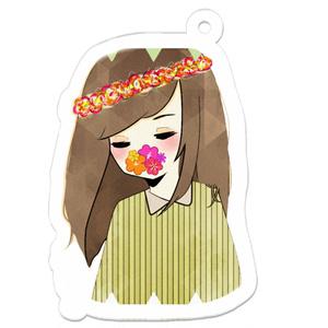 花と少女 アクリルキーホルダー50×50