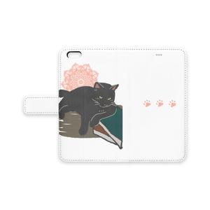 本と黒猫のスマホ手帳カバー