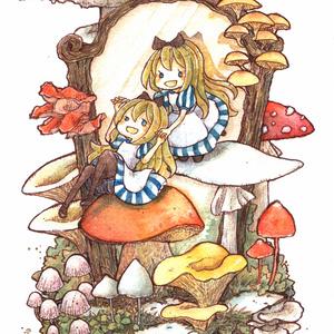 Postcard【キノコの国の二人のアリス】