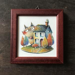 原画「モフねこさんとお家」