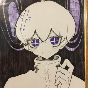【創作】モノクロ+ワンカラー色紙(小)不謹慎天使クン 一品もの