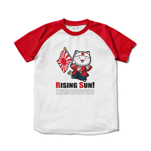 にゃんぱと。【おさかな新鮮組】らいじんぐ・さんTシャツ WHT+RED