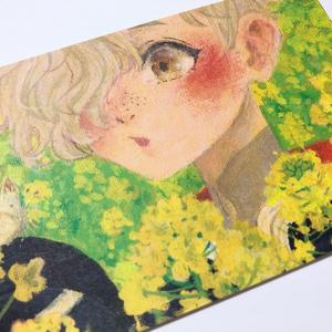 菜の花と五虎退ポストカード