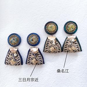 刺繍リボンピアス/イヤリング 三日月/桑名江