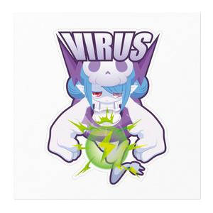 【ステッカー】ウイルスちゃん -160㎜×160㎜-