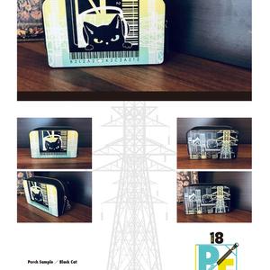 【ポーチ】黒猫と鉄塔デザイン/受注生産