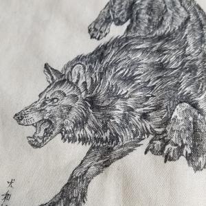 オオカミ手書きトートバッグ