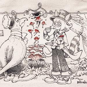 手描きトート・ネコ少年と鳥おじさん/ 特典・ミニ色紙原画付き