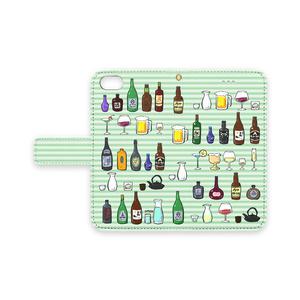 お酒が沢山 iPhoneケース(グリーン)