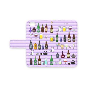 お酒が沢山 iPhoneケース(パープル)