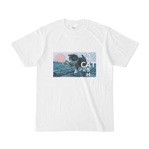 ネコ卓球Tシャツ-白