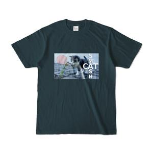 ネコ卓球Tシャツ-薄紺
