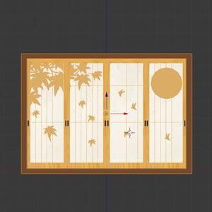 【ワールド用】3D和風窓セット【無料DLあり】