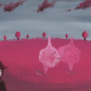 【絵画】ピンクの草原、幽霊マンボウの踊り