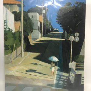 坂道と日傘