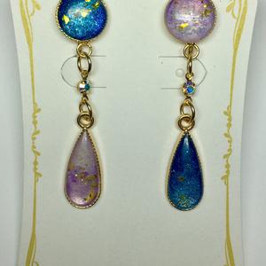 レジンイヤリング(青×紫)