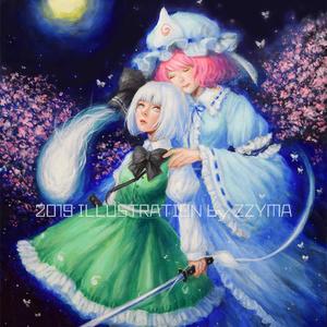 東方油彩原画「桜の亡霊」F8号
