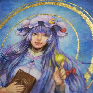 東方油彩原画「西洋の東洋魔術師」/パチュリー・ノーレッジ F4