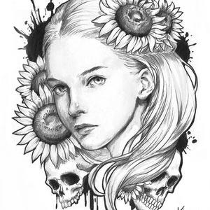 オリジナル鉛筆原画 「Death -sunflower-」