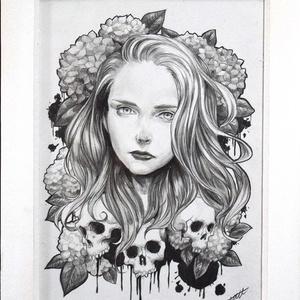 オリジナル鉛筆原画 「Death -Hydrangea-」