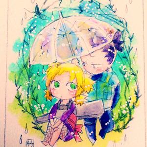 【一点モノ】シカテマミニ額「雨」