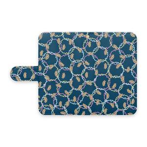 プードル雪輪小紋(藍色)手帳型Androidケース