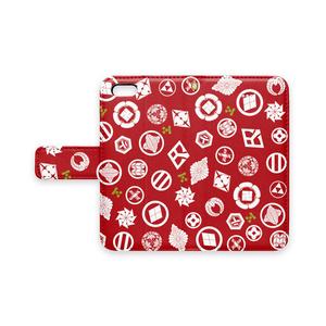 長州志士家紋(赤)手帳型iPhoneケース