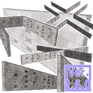 3D ブロック塀 素材集(クリスタ1.6.0~用・コミスタ用)