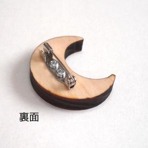 月のヒノキブローチ アンティーク風
