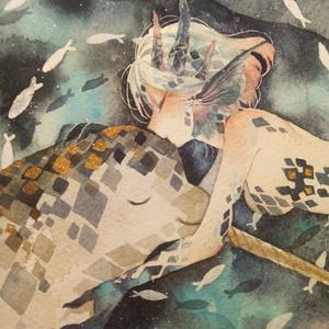 【水彩原画】イッカクと海のドラゴン