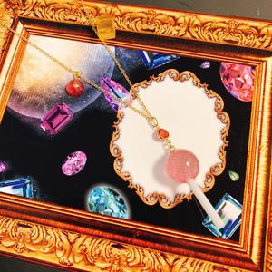 【魔法のロリポップネックレス】ベリーローズクォーツ