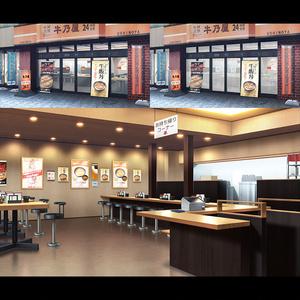お店2D背景素材集<牛丼屋A>