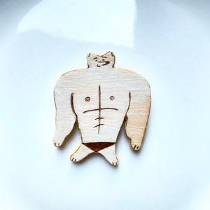 木製バッジ 筋肉キツネ ノーマル