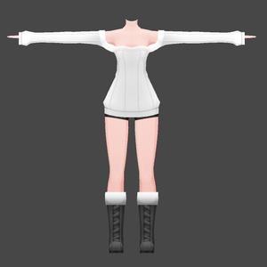 【3Dモデル】オフショルダーセーター ショートパンツ&スパッツ - 着せ替え用コスチューム