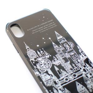「遠い銀河のガラス都市 ナイトブラック」【iPhone】空想街シンプルシリーズ(クリスタルハードケース)