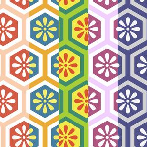 亀甲文様パターン素材5 小花