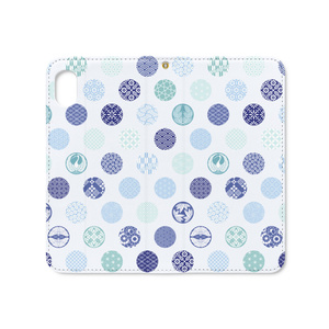 手帳型iPhoneケース 花の丸 青