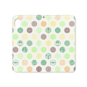 手帳型iPhoneケース 花の丸 緑黄