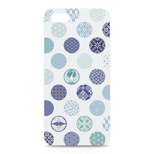 iPhoneケース 花の丸 青