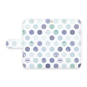 手帳型Androidケース 花の丸 青