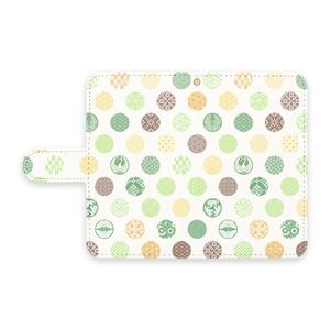 手帳型Androidケース 花の丸 緑黄