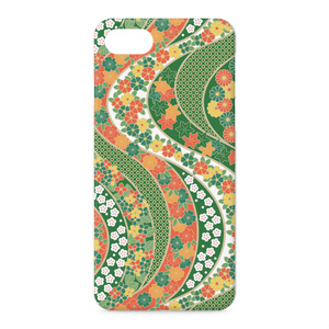 iPhoneケース 花流し 緑