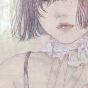 日本画ドローイング原画「メリーバッドエンド」