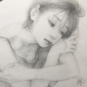 鉛筆原画「眠れぬ夜に」