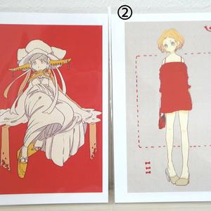 【ぎやまん】ポストカード ①「花姫」 ②「赤いワンピース」