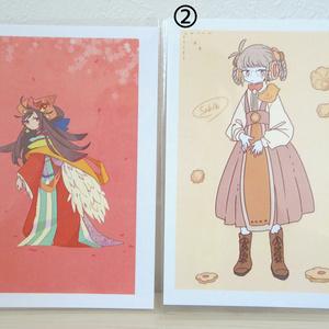 【ぎやまん】ポストカード ①「桜の花嫁の婚礼の儀」 ②「サブレちゃん」