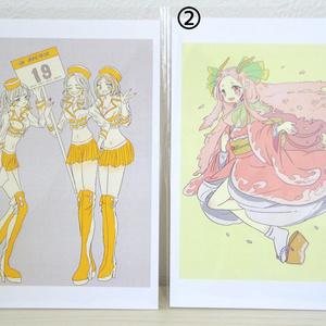 【ぎやまん】ポストカード ①「レースクイーン」 ②「桜の精」